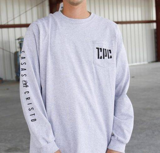 gray long sleeve pocket tee